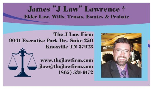the j law firm elder law james lawrence business card